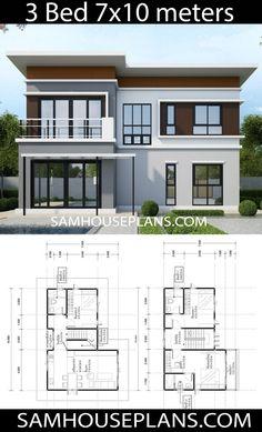 House Plans Idea 107 with 3 Bedrooms Sam House Plans Model House Plan, My House Plans, Simple House Plans, House Layout Plans, Duplex House Plans, Simple House Design, House Front Design, House Layouts, Modern House Design