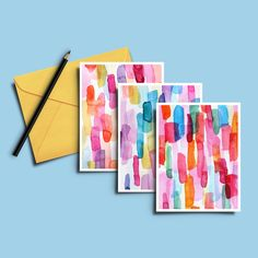 Watercolor Cards, Card Set, Colorful Blank Cards, Painted Cards, Set of Cards, Inspiration Cards, Vibrant Art Cards, Painted Cards, Painting by aprileelaine on Etsy https://www.etsy.com/listing/576760234/watercolor-cards-card-set-colorful-blank
