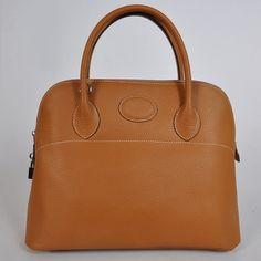 Hermes Bolide Bag Leather 37 cm clemence in Camel with Sil