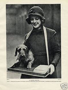 Wire Haired Dachshund and Pretty Lady Charming 1934 Vintage Dog Print | eBay