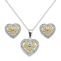 ".925 Sterling Silver CZ Two Tone Filigree Heart Earrings and Matching Pendant-Necklace Set with 1.0mm Angle-cut Cable Rolo Chain - 16""+1"" Inches Extension Reeve and Knight. $93.00. Guaranteed to contain no Nickel content...completely hypoallergenic. Made using pure 925 Sterling Silver.... Rhodium coated for a lasting shine...and little to no silver tarnish.. Promptly Packaged with Free Shipping and Free Gift Box...Perfect for Gift Giving.. Special manufacturing proces..."