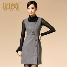 Love the buttons, short style. Like the grey. Cute Dresses, Casual Dresses, Short Dresses, Fashion Dresses, Dresses For Work, Work Fashion, Asian Fashion, Casual Mode, Dress Sewing Patterns