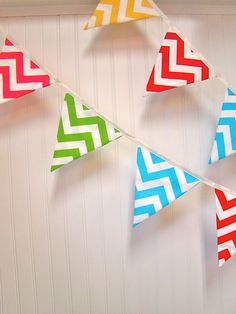 I bet she could do all one color or yellow and blue!!  Chevron Fabric Banner Colorful party bunting by PaisleyHandmade, $30.00
