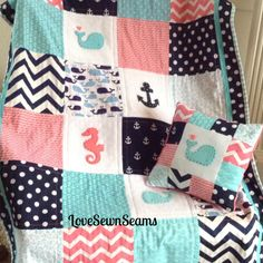 """CORAL, Navy & Teal Crib Size Nautical Quilt 38"""" x 52""""/Coral and Navy/Seahorse/Anchor/Whale by Lovesewnseams on Etsy"""