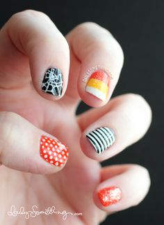 Cutesy Halloween Stamped Manicure - Candy corn! Olive's nails need to get a little bigger before I can get this much detail on there.