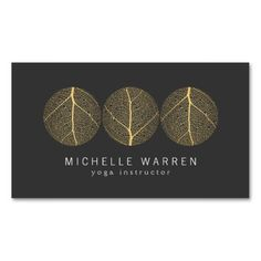 Elegant and Serene Gold Leaf Trio Logo on Dark Gray Business Card Template for Yoga Instructors, Life Coach, Therapists, Spa & Salons and more - ready to personalize