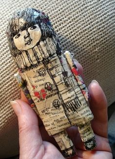 paper mache and hand drawn doll by info.tothzsuzsa