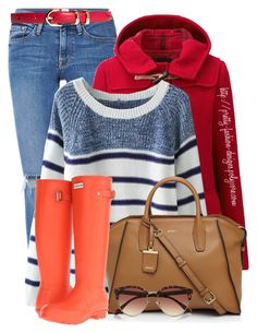 """""""~  Duffle Coat  ~"""" by pretty-fashion-designs ❤ liked on Polyvore featuring Frame Denim, Uniqlo, DKNY, Hunter, River Island and Brooks Brothers"""