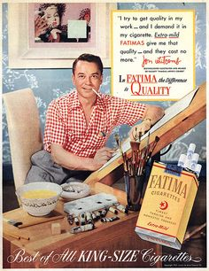 Vintage artist Jon Whitcomb in his own ad!