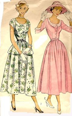 Easter Sunday dress with hat and white gloves!  Simplicity 2869 (1949)