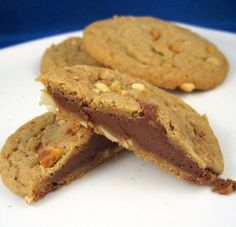 Chocolate Filled Double Delight Peanut Butter Cookies
