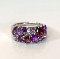 Amethyst Rhodolite Garnet Ring Sterling by AntiqueJewelryForFun