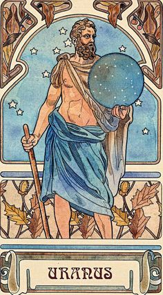 URANUS (Ουρανός) was the Protogenos of the solid dome of heaven, whose form stretched from one horizon to the other. He sprung forth from Gaea the Earth at the beginning of creation. Later his son Cronus, seized and castrated him, as he descended to consort with Mother Earth.