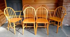 Set of 6 Early Ercol Windsor Dining Chairs Including 2 Carvers Windsor Dining Chairs, Dining Room Chairs, Mid Century Chair, Mid Century Furniture, Retro Furniture, Antique Furniture, Outdoor Chairs, Armchair, Antiques