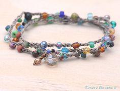 Multi Color Beaded Crocheted wrap Bracelet or Anklet by JonaraBluMauiJewelry, $25.00