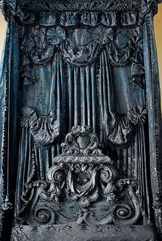 """Bed, State Date: ca. 1698 Culture: English Medium: Wood, covered in blue silk damask Dimensions: H. 12'; L. 6'6""""; W. 5' Classification: Woodwork-Furniture Credit Line: Gift of Mr. and Mrs. W"""