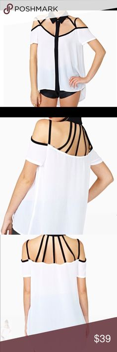 Open shoulder strappy hi lo blouse Open shoulder strappy hi lo blouse. Chiffon rayon blend. New without tags retail. Never worn. Ships within one week. SV002706 Shop Nicety Tops Blouses
