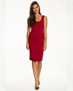 Bengaline Scoop Neck Shift Dress - Stay comfortable all day and look great while doing it wearing this bengaline scoop neck dress.