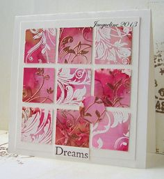 handmade card ... nine patch of inchies .... monochromatic red and pink ... heat embossing patterns ... lovely ...