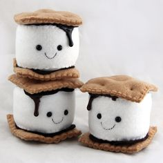 S'more Marshmallow Plushie - Handmade Felt Camping Play Food - Ready to Ship by . - Pillows - S'more Marshmallow Plushie – Handmade Felt Camping Play Food – Ready to Ship by TreefortFiveS - Felt Crafts Diy, Felt Diy, Handmade Felt, Cute Crafts, Sewing Crafts, Crafts For Kids, Fish Crafts, Simple Crafts, Cute Diys
