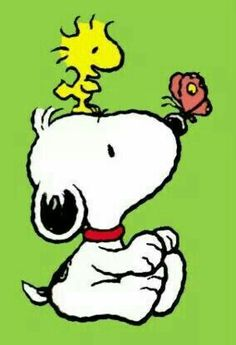 Baby Snoopy and Baby Woodstock with a butterfly