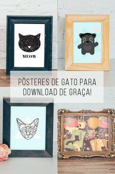 4 posteres de gato para download grátis // palavras-chave: download, imprimível, gato, pôster, cartaz, gratis, de graça, papel