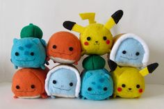 Handmade Pokemon Tsum Tsums, Gotta stack 'em all!!!  Choose from the original four starters: Pikachu, Charmander, Bulbasaur, and Squirtle.