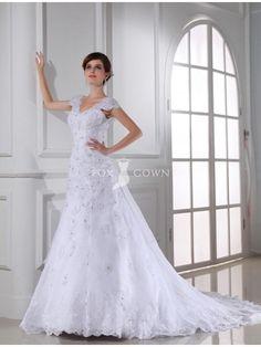Classic Cap Sleeve Scalloped V-neck A-line Beaded Lace Applique Chapel Train Wedding Dress