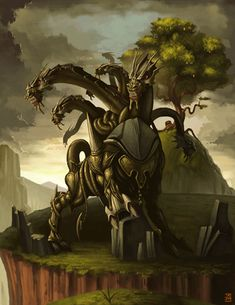 """Ladon (Greek: Λάδων; gen.: Λάδωνος) was the serpent-like dragon that twined and twisted around the tree in the Garden of the Hesperides and guarded the golden apples. He was overcome by Heracles. The following day, Jason and the Argonauts passed by on their chthonic return journey from Colchis and heard the lament of """"shining"""" Aegle, one of the four Hesperides, and viewed the still-twitching Ladon."""