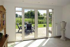 Mooie tuindeuren, simpel veel glas Garden Doors, Patio Doors, French Windows, French Doors, Garage Door Replacement, Living Spaces, Living Room, Kitchen Doors, Windows And Doors