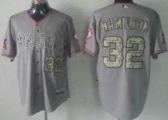 LA Angels of Anaheim  32 Josh Hamilton Gray With Camo Jersey Camo 10979467e
