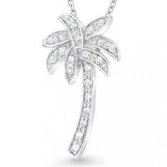 Bling Jewelry Sterling Silver CZ Pave Palm Tree Pendant Necklace 16 in., (palm tree)