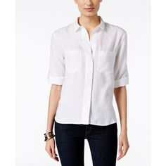 Olive + Sloane Split-Back White Button-Up Shirt, ($15) ❤ liked on Polyvore featuring tops, white, white button down top, button down top, white shirt, white button down shirt and button front top