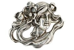 """Antique Art Nouveau sterling silver repoussé figural brooch. Made by William Kerr of New Jersey. Brooch, 2 5/8""""L x 2 1/4""""W. Weight, 24 grams. 2.62"""" L x 2.25"""" W Excellent condition. C. 1910 vintage / a"""
