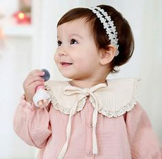 Baby Girl 2Pc Long Sleeve Blouse with Removable Collar - Girls Blouse - Girls Lace Bib - Fall Outfit - Baby Long Sleeve - Pink Shirt