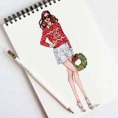 Style of Brush by Gizem Kazancıgil #fashionillustration gizem kazancigil #christmasfashion #christmasillustration