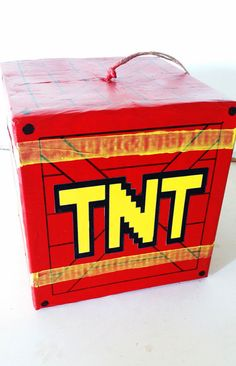 Very Cool TNT Pinata that will add explosive Fun to your party! This is a handmade TNT Pinata Perfect for a fun or boring Party. Whoever wants to take a swing at a TNT pinata here it is! To add a fun look to your Party look no further! Also in close likeness to the TNT boxes in Crash Bandicoot and Mario Cart! This TNT pinata is hand painted with Red and Yellow Acrylic Paint making it shine. Lines are carefully and perfectly drawn on by hand as well! Made to Order. Small Size Approx: 10 x…