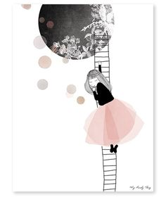 Affiche The moon by My Lovely Thing x 40 cm), Lilipinso. Grande affiche de la collection My Lovely Thing - L'affiche The moon de la collection by My Lovely Illustrator, Illustration Arte, Stoff Design, Inspiration Art, Grafik Design, Love Art, Art For Kids, Sketches, Art Prints