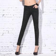 Western Slim Fit Long Jean Pencil Pants Black