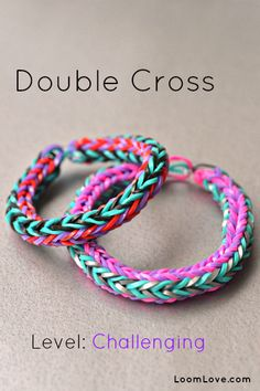 How to Make a Double Cross Rainbow Loom Bracelet  can be done without loom as we'll, but it's a little more difficult on your fingers!