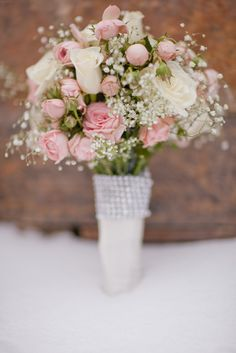 Blush Rose and White Baby's Breath Bouquet