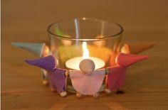 Votive candle rainbow gnomes