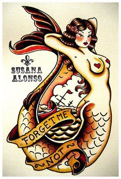 Forget Me Not by Susana Alonso Tattoo Fine Art Print Traditional Mermaid #PopArt