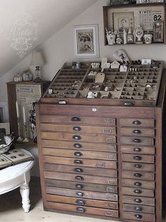 i love love love everything on the post especially this printers tray cabinet circa 1891
