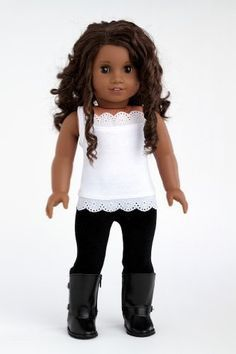 DreamWorld Collections Uptown Girl - 4 piece outfit includes red ruffled jacket, white tank top, black leggings and boots - American Girl Doll Clothes : Casual Doll Outfits