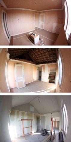 Suite parentale en cours de restauration avec son plafond cathédrale et isolation des murs