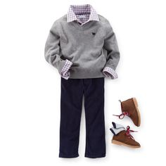 Picture Perfect A warm v-neck sweater pairs with a plaid top and dark pants for a dapper outfit. Classic boots and a belt add a polished look.  Carter's