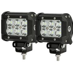 "Amazon.com: SHANREN 2Pcs 4"" 18W CREE LED Work Light bar Flood beam 60 degree waterproof for Off-road Truck Car ATV SUV Jeep Boat 4WD ATV Auxiliary Driving Lamp(Park of 2): Automotive"