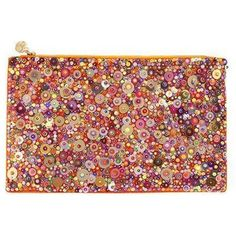 Forest Of Chintz Orange Ott Clutch ($787) ❤ liked on Polyvore featuring bags, handbags, clutches, orange, orange handbags, orange purse and orange clutches