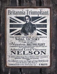 NEW Vintage wooden sign 'Britannia Triumphant' Lord Nelson by VASSdesign